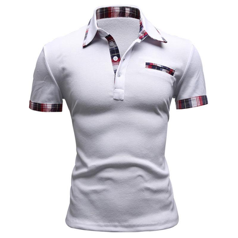 Remiendo hombres de la marca Polo sólido camisa corta envuelva Slim Fit Polo para hombre Embroided Hombres Polos Polos Camisa Casual Tendencia
