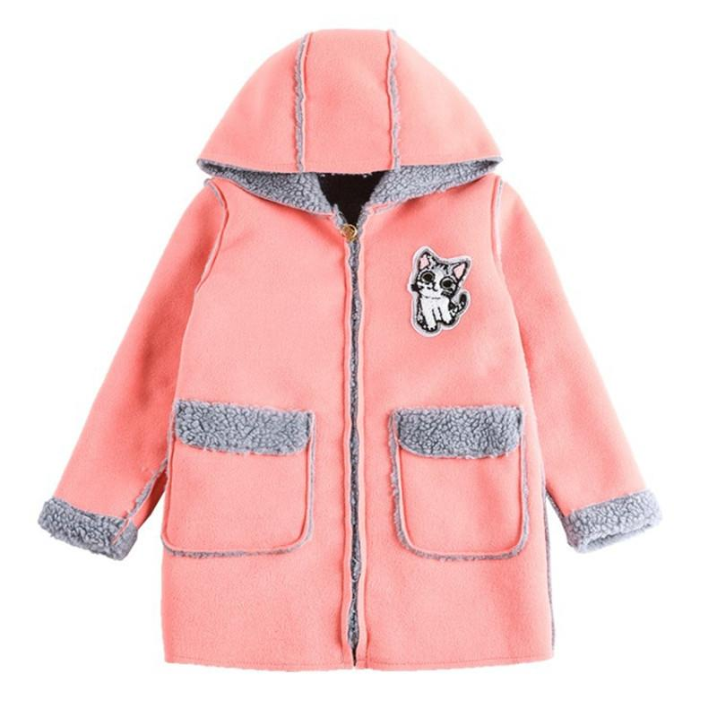 Thick Woolen Jacket for Girl Clothes Fashion Cat Pattern Kids Outerwear Warm Winter Girls Coat Jacket New Year Girl Clothes Coat