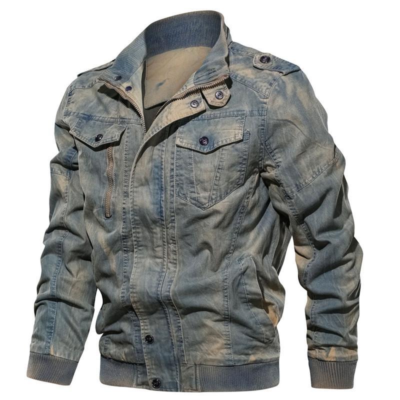 İlkbahar Sonbahar Streetwear Erkek Denim Ceket Moda Moda Ripped Bombacı Ceket Erkek Kot Ceket Dış Giyim Erkek Kovboy Coats M-6XL
