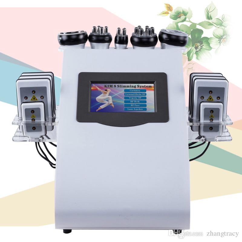 6 IN 1 Ultrasound Cavitation Machine Cavitation Lipolaser RF Vaccum Slimming Body Sculpture Contouring Cool Face Lifting Equipment
