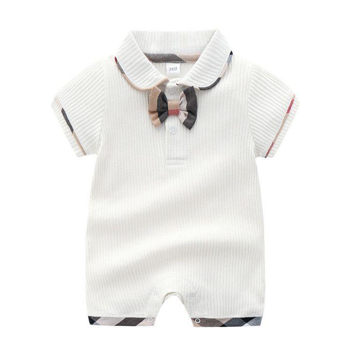 Designer Baby Strampler Säuglingsjungen Zopf Bögen Krawatte Baumwolle Overalls Säuglings Mädchen Gitter Revers Kurzarm Klettern Kleidung Baby Windel F5484