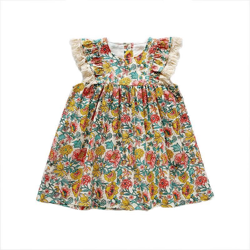 Vêtements fille Robes NOUVEAU été fleur vêtements fille enfants Tassel Princesse Robes d'été mignon Vêtements pour enfants 18M-6Y