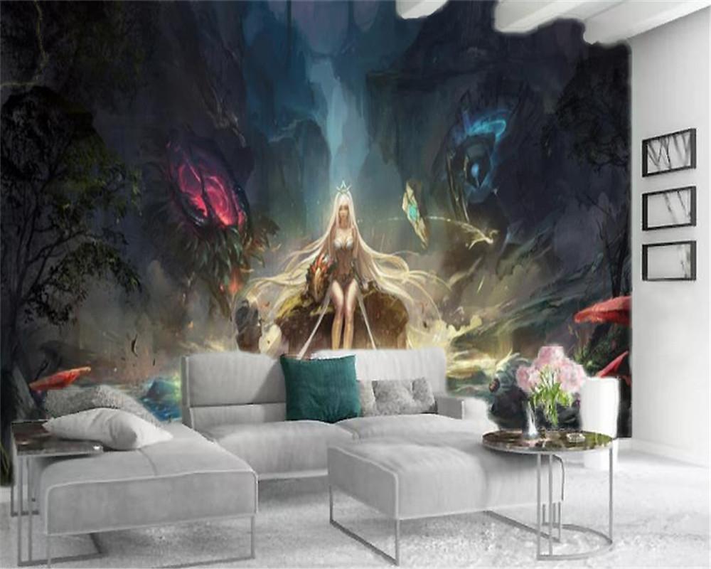 لعبة 3D جدارية للجدران الكرتون فتاة جميلة غرفة المعيشة غرفة نوم خلفية الجدار الديكور خلفية جدارية
