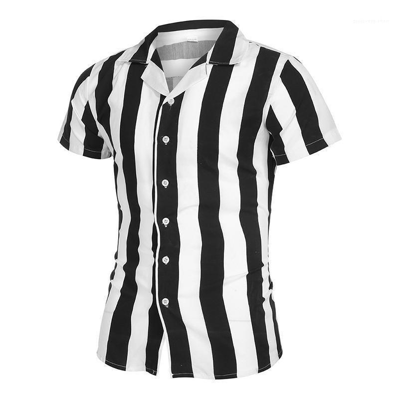 Gestreifte Panelled Hemden Freizeit-Revers-Ausschnitt Kurzarm-Hemden arbeiten Normallack-dünne Hemden der Männer Designer