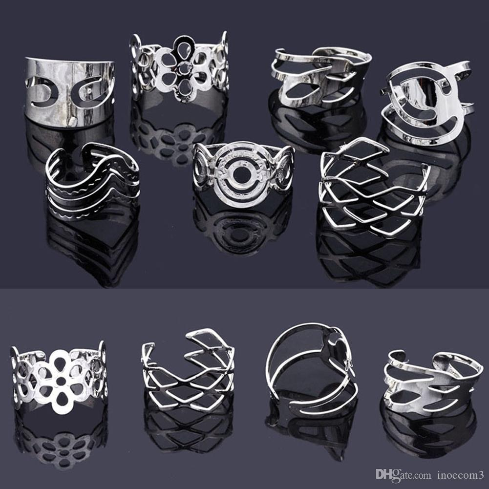 50Pcs Mix Style Vintage Alloy Gypsy Adjustable Finger Tattoo Rings Toe Ring Lots For Women Men Wholesale Jewelry