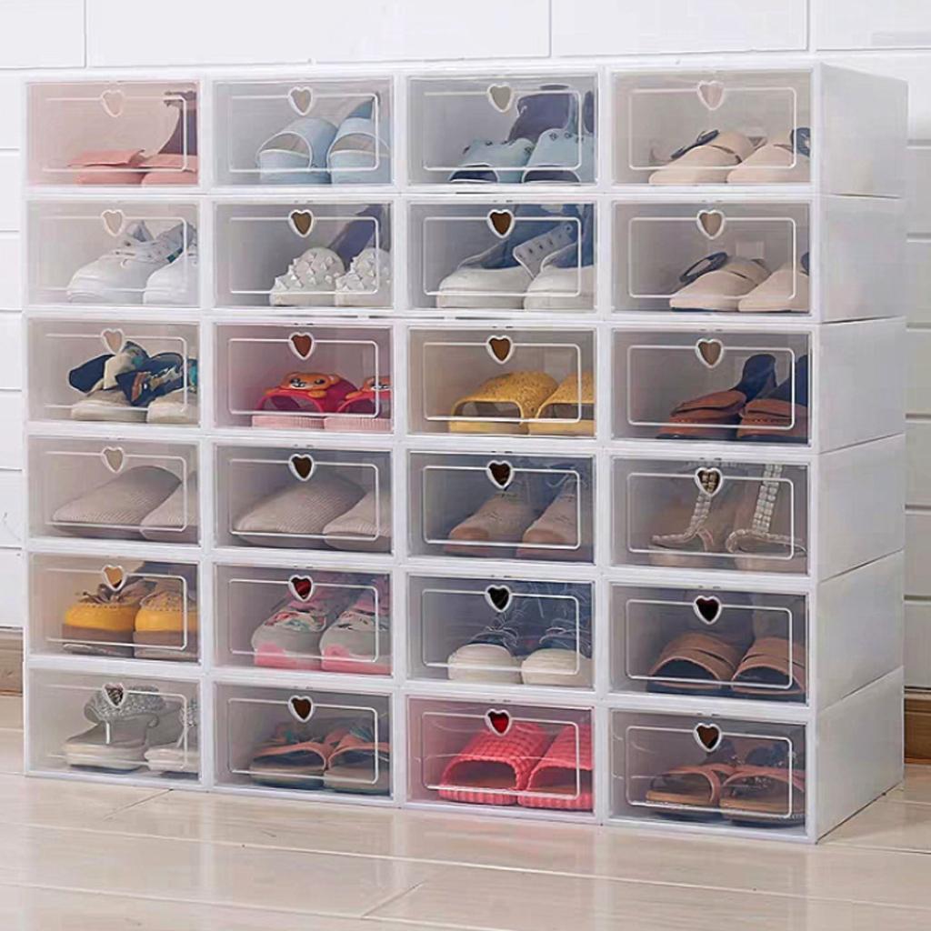 6PCS أحذية فليب صندوق سميكة شفافة الحذاء درج حالة من البلاستيك صناديق تكويم صندوق حذاء منظم صندوق أحذية تخزين الرف الحذاء T200104