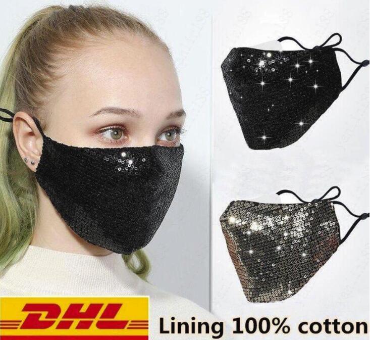 DHL libera la nave modo di Bling Bling Paillettes mascherina protettiva antipolvere PM2.5 Bocca fodera lavabile riutilizzo Maschera elastico Earloop Bocca FY9048