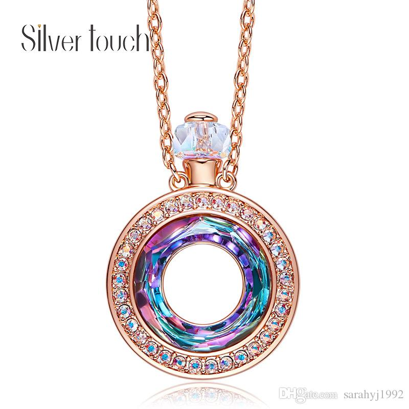 European and American Perfume Bottle Lucky Wheel Pendant Embellished with Crystals from Swarovski Necklace Female Jewelry