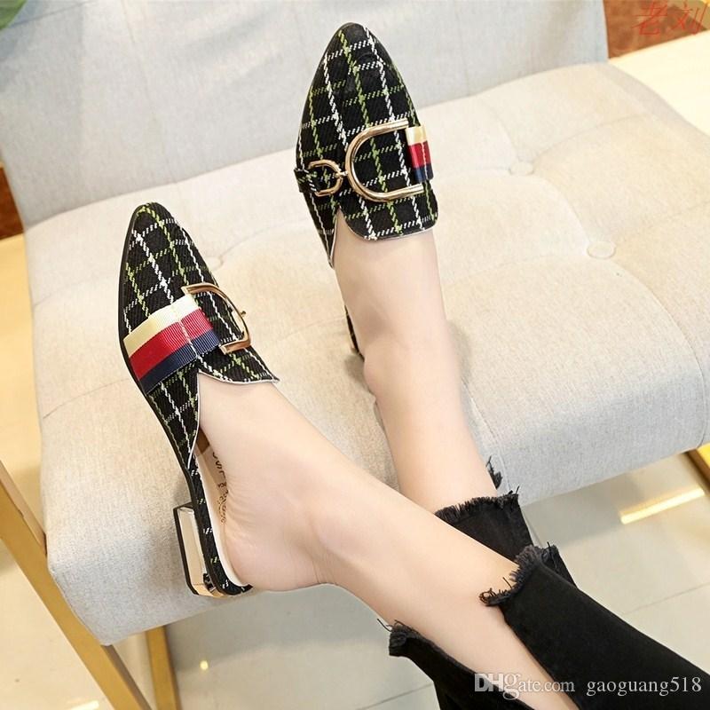 2019 женщин корейской версии новой плоской толстой с Baotou дамы и полутапочки домашние туфли
