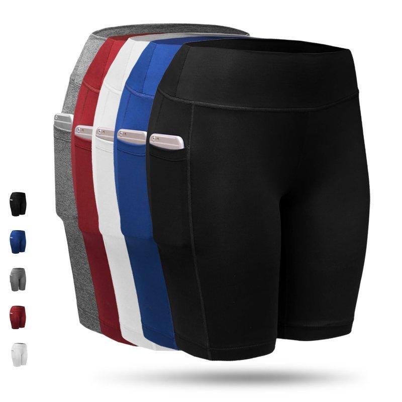 01Fashion- Quick Dry Женщины Спортивные шорты Женщины Упругие Черный Белый Бег Фитнес-центр Шорты с карманом фитнес тренировки шорты 2 шт / много