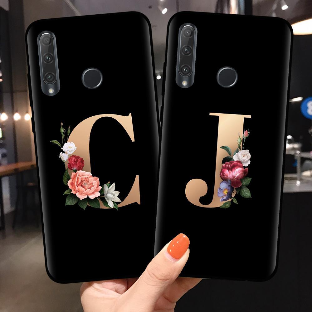 nome personalizado monograma da letra de telefone Capa Para Coque Huawei Honor 10 20 Lite Pro 10i 8X 8C 9X Tampa Flor para 10 Caso Huawei Honor