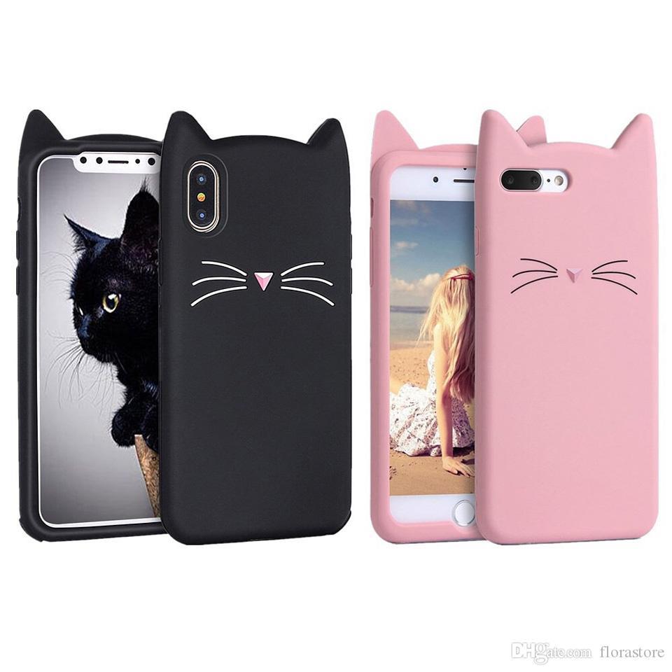 3D Cartoon Silicone Carino Cat Cat Phone Cases Casi Bella protezione in gel protettiva per iPhone 7 8plus xr max 11