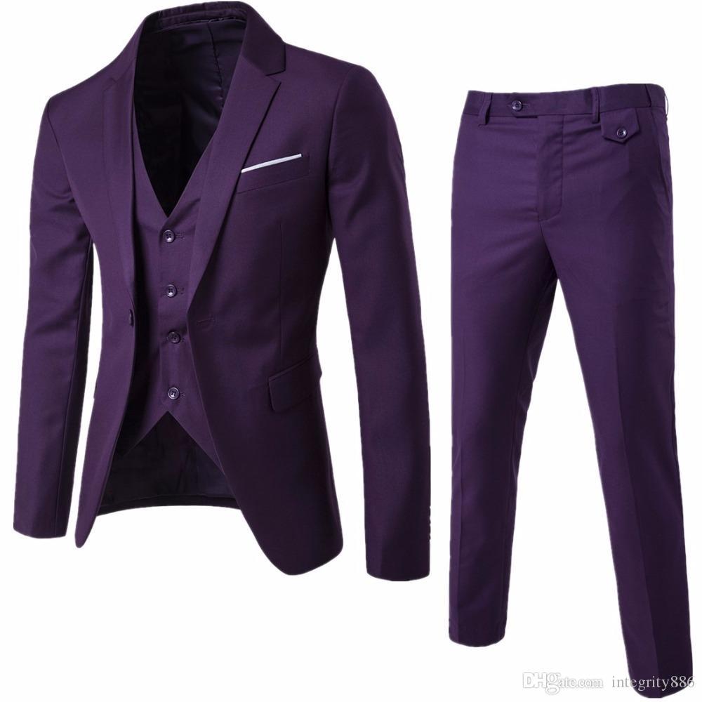 Slim Fit Mor Damat Smokin Çentik Yaka Erkekler Düğün Smokin Popüler Erkekler İş Yemeği Balo Blazer 3 Parça Suit (ceket + Pantolon + Kravat + Yelek) 167