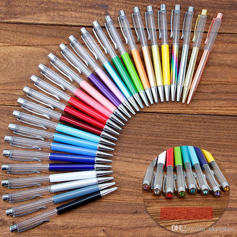 Свободный DHL 2019 Новые Творческое Diy Металлические ручки Top С Drill Реклама Pen Мода Кристалл Шариковая ручка Канцелярские 27 Стили M589A
