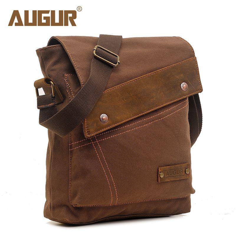 Augur 2018 Canvas Crossbody Bag Men Military Army Vintage Messenger Bags Large Shoulder Bag Casual Travel Bags J190704