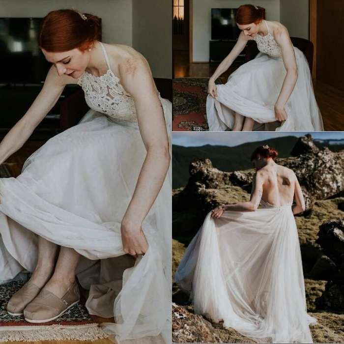 2020 Boho do casamento de praia Vestidos Lace Applique Varrer Train Tulle Backless Halter Custom Made País Vestidos de casamento vestido de novia