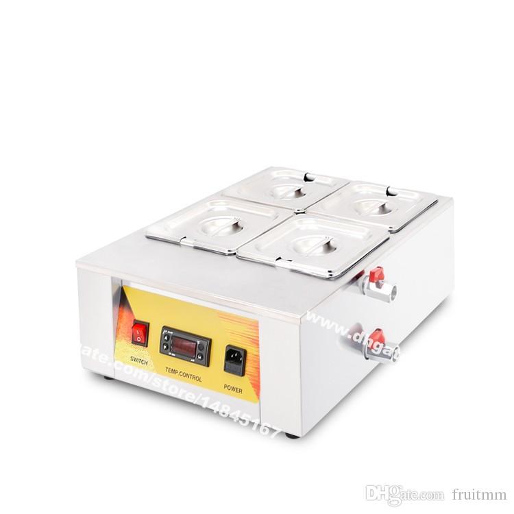 Free Shipping Heavy Duty 110v 220v 4 Pan elettrico bagnomaria del cioccolato rinvenimento Melter aumento della temperatura dell'acqua Macchina di calore