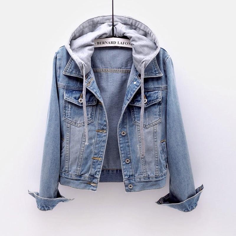 Brasão Denim curto novo de mangas curtas slim com capuz Jacket selvagem estudante camiseta Streetwear revestimento de bombardeiro das mulheres casacos