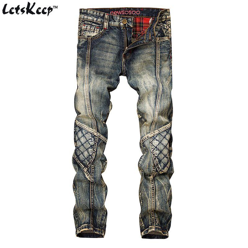 LetsKeep 새로운 패치 워크 남성용 데님 청바지 biker skinny ripped jeans 청바지 punk mens 격자 무늬 청바지 바지, MA356