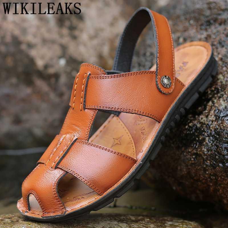 Mode Hommes Sandales d'origine Chaussures en cuir Taille Plus 47 Sandales d'été Chaussures Hommes Casual Plage Hommes 2020