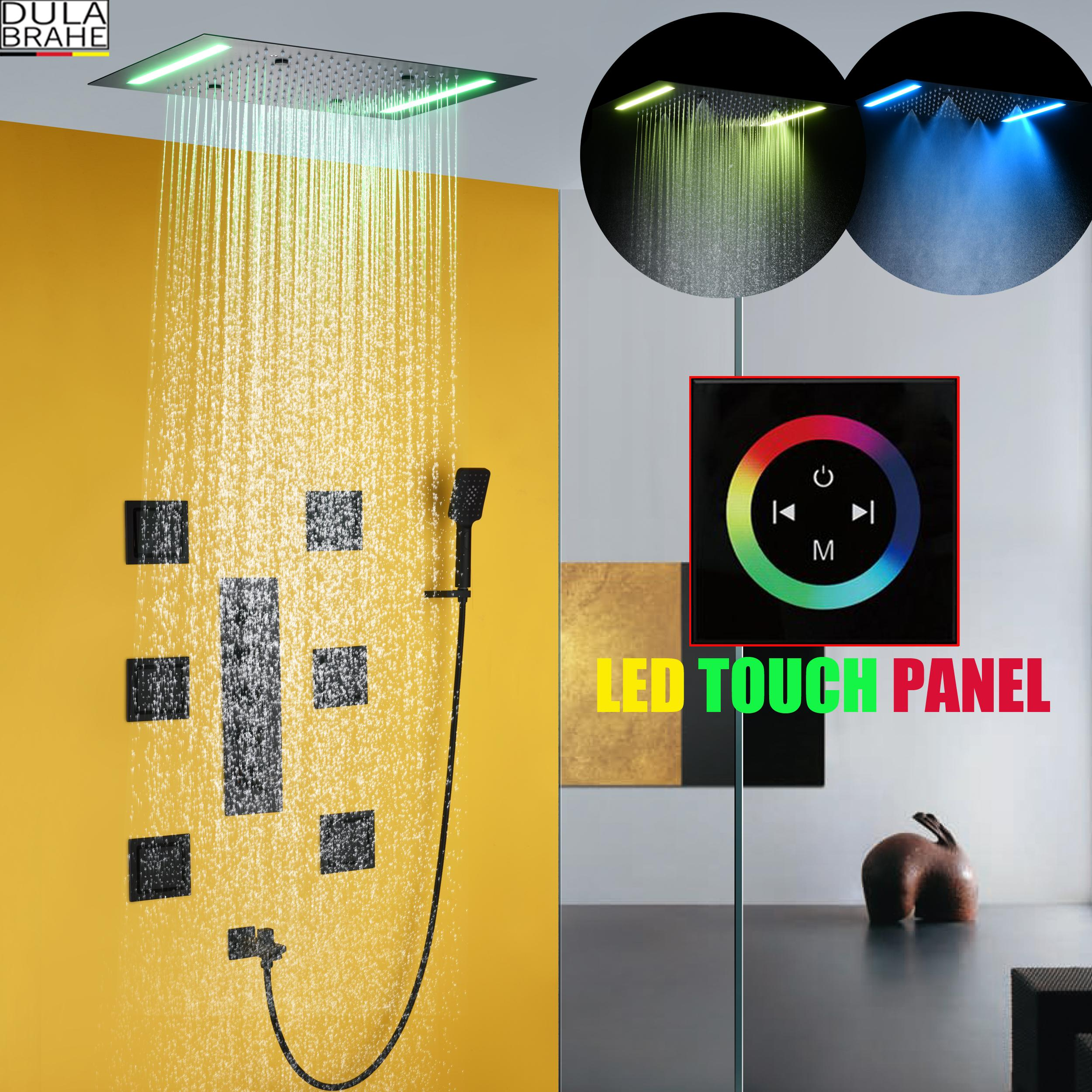 Bath Rain Shower Faucet Set Shower Panel System Bathroom Ceiling LED Shower Head Hot And Cold Or Thermostatic Bath Mixer