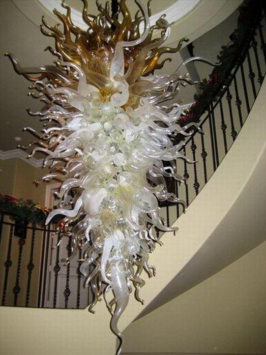LED Candelabro Lâmpadas Pingente luzes interiores cor bege Luzes arte contemporânea em vidro longo Bubbles Blown