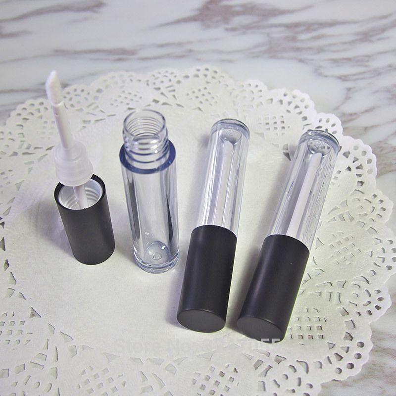 6.5 мл 50 шт. / лот прозрачная пустая трубка для блеска для губ с черной крышкой, DIY пластиковая бутылка с жидкой помадой высокого качества, косметический контейнер для губ