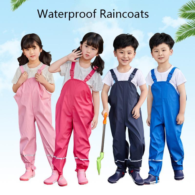 Chuva Calças Crianças PU Baby Girl geral Meninos impermeáveis calças amarelas Azul marinho Criança Romper 2019 Chidlren Jumpsuit 1-10 anos Y200704
