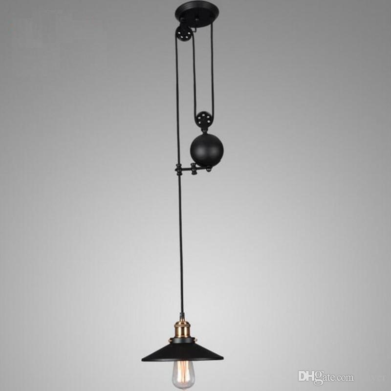 Loft Retro Pendant Light New Fashion Pully Iron Pendant Light Lamps Wrought Iron Vintage Industrial Adjustable Pulley Pendant Lamps