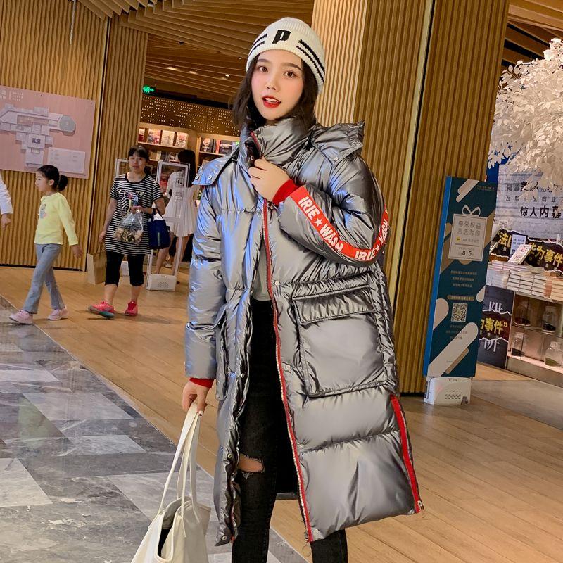 2019 estilo de la chaqueta de las mujeres del invierno larga con capucha Dos bolsillos grandes Mujer Parka OutwearChildrens caliente espesa capa nueva de la llegada