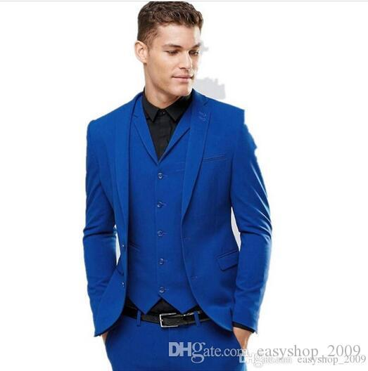 Men's Suits & Blazers Custom Royal Blue Men's Wedding Prom Suits 3 Pieces Best Man Bridegroom Tuxedos (coat + pants+vest) made to order
