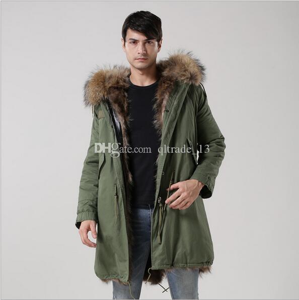 Meifeng marca marrom forro de pele de raposa longo Casaco lavado exército verde longo casacos com pele de guaxinim marrom guarnição da neve parka