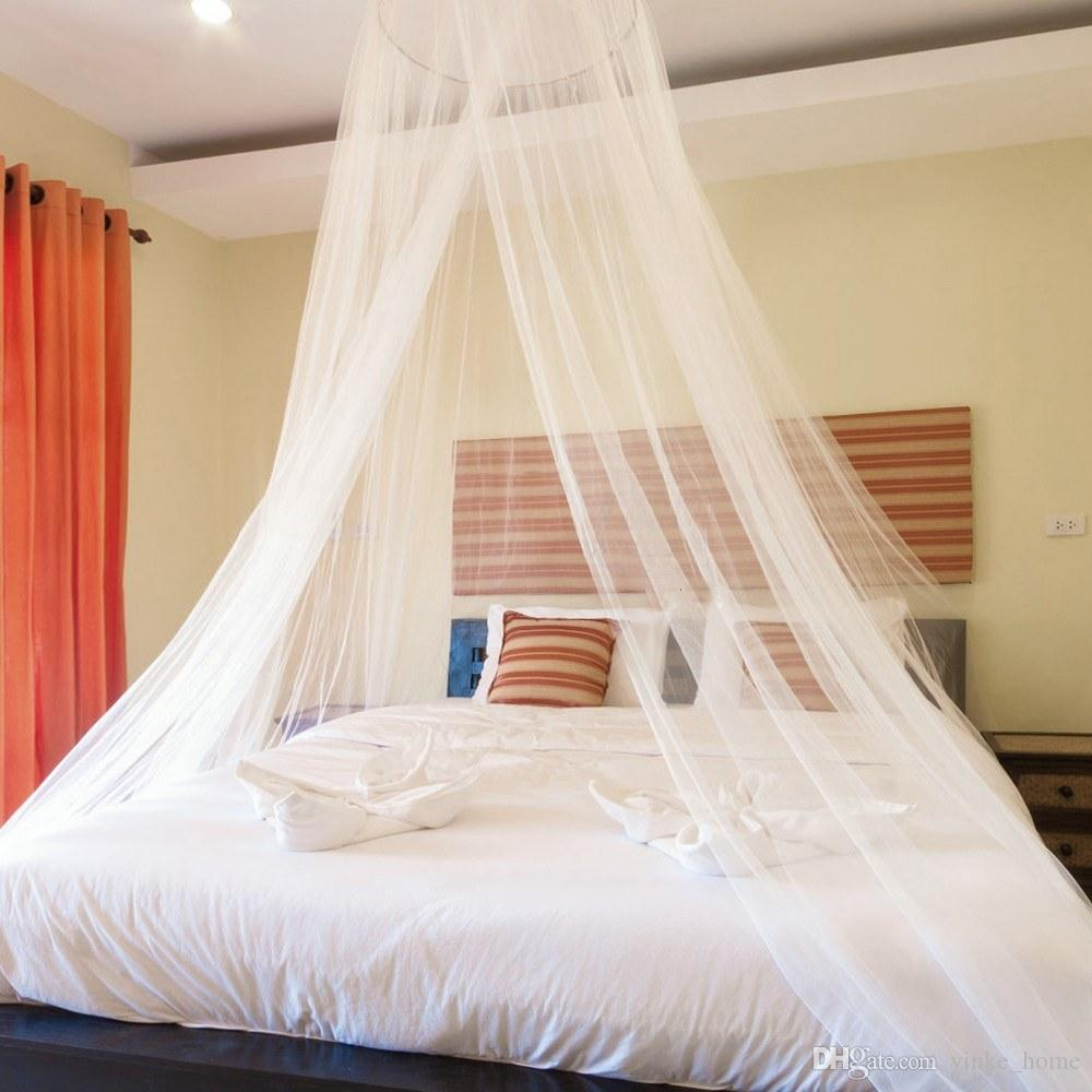 White Elegant Dome Mosquito Net Repellent Insect Reject Canopy Netting Bed Curtain Bed Tent For Single to King Size Hammocks Cribs Beds