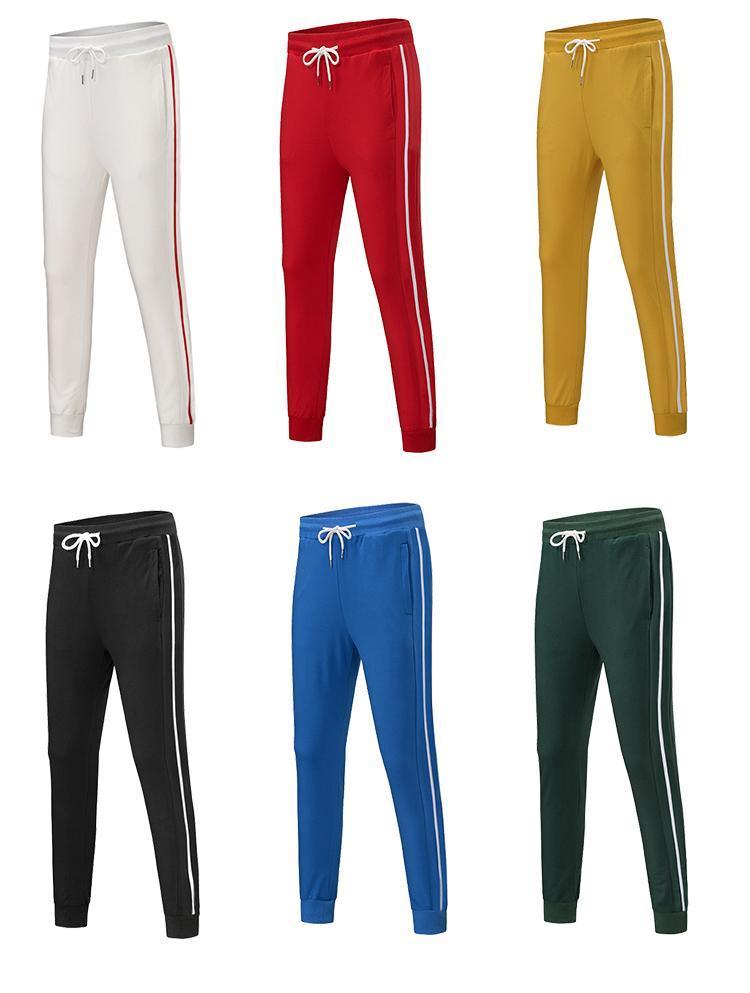 Erkek Koşucular 6 Renkler Moda Sweatpants Stripes Panalled Kalem Jogger Pantolon Ücretsiz Kargo Artı boyutu S-4XL