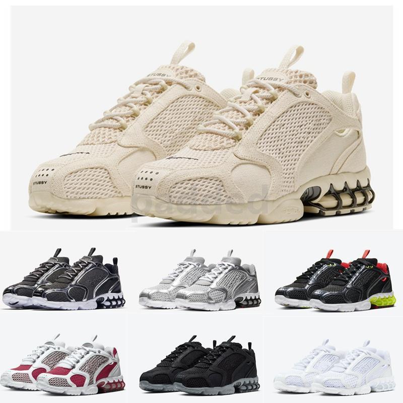 New Stussy Spiridon Jaula de 2 Running Shoes Pure Platinum limão Venom Triplo Branco Prata metálica Varsity Red Mulheres Homens sapatilhas esportivas