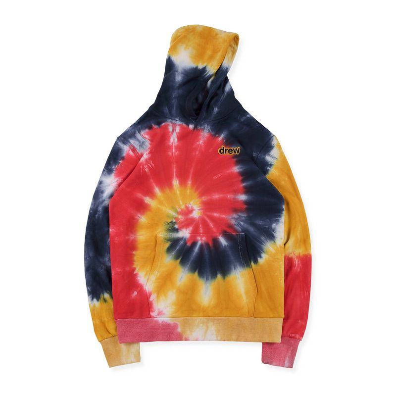 19ss Fashion Spring Autumn Justin Bieber Drew House Embroidery TIE-DYE Skateboard Hoodie Hoody Men Women Hooded Sweatshirt Coat