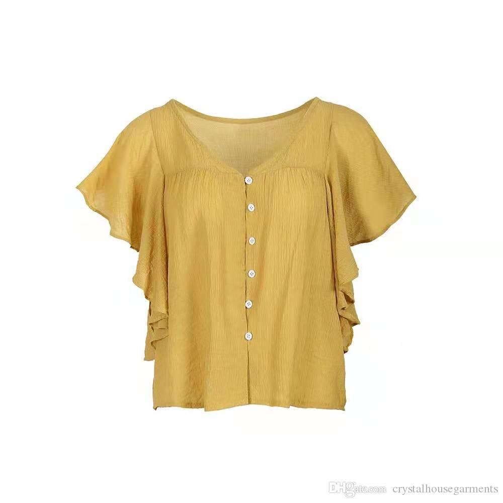 Summer Women Ruffle V Neck Tops Tees Short Sleeve Trendy Casual T-shirts Single Button For Lady Girl