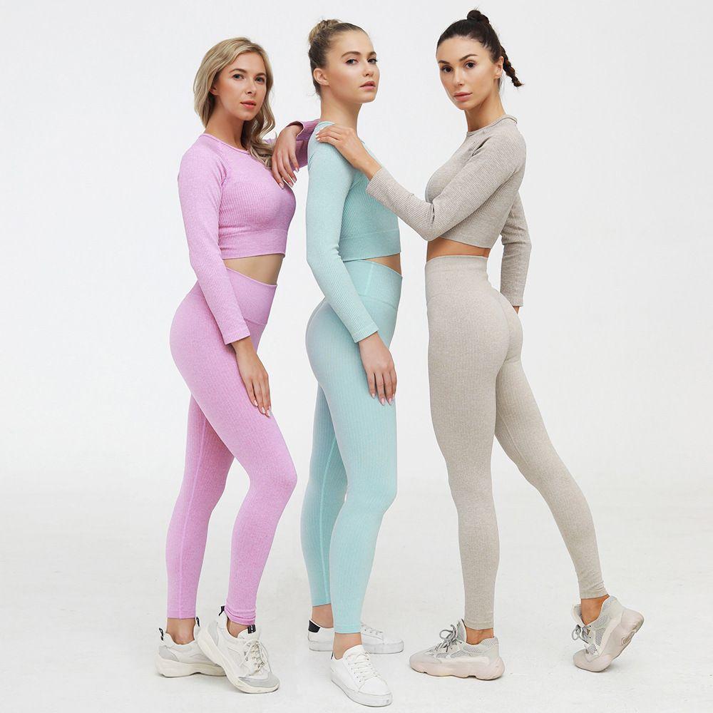 Otoño diseñador yoga sportwear chándalsuits fitness gymshark sujetador leggings 2pcs atuendo al aire libre deportes alinear pantalones gimnasio desgaste ropa traje sólido yogaworld corriendo conjunto