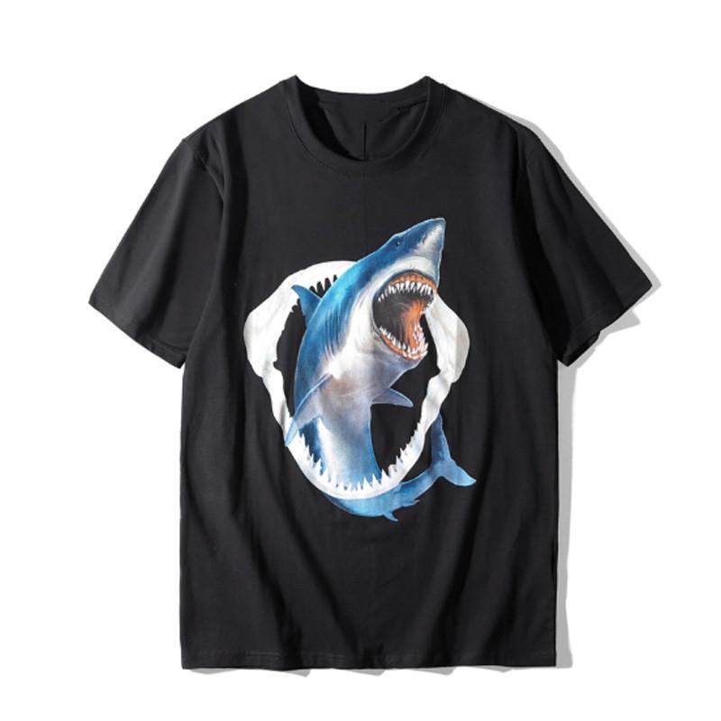 Ünlü Erkek T Shirt Yaz Yüksek Kalite Pamuk Çiftler Kısa Kollu Erkekler Kadınlar Köpekbalığı Baskı T Shirt 2 Renkler