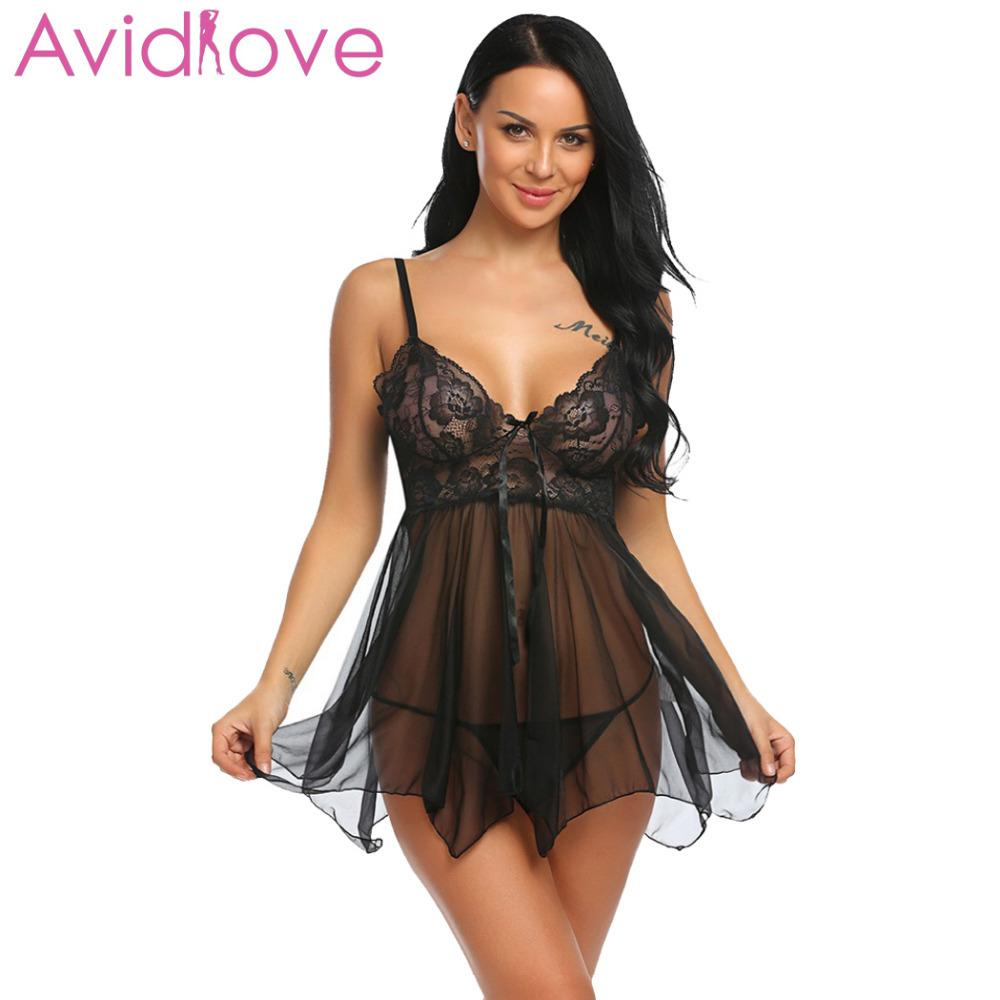 Avidlove Lingerie Sexy Erotic Hot Babydoll Dress Women Transparent Floral Lace Night Porn Chemise Underwear Fantasy Sex Clothes LY191222