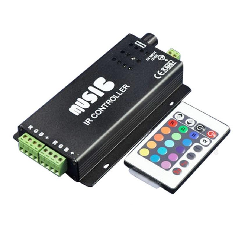 Vanlig anod IR Två Strip 24KEY RGB Musikstyrenhet RGB LED Strip fjärrkontrollen