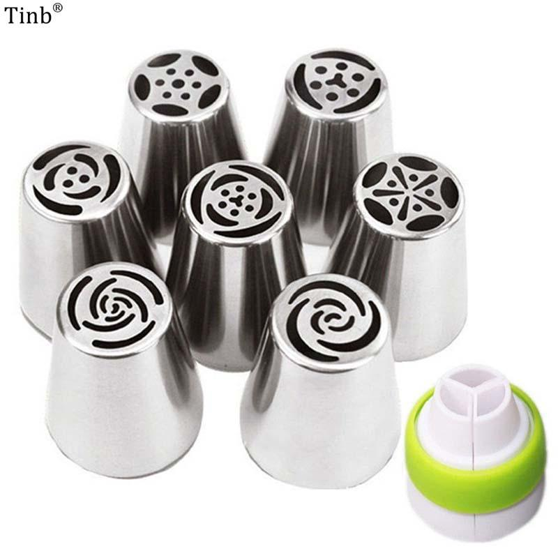 Cake Tools 7Pc Big Russian Tulip Stainless Steel Nozzles Birthday Cupcake Decorating Icing Piping Rose Flower Cream Pastry Tip