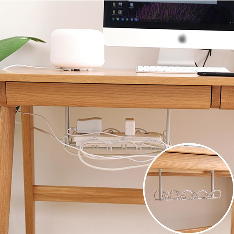 Under-table Storage Rack Table Bottom Power Socket Holder Hanging Rack Line Finishing Desk For Kitchen Home Office Suction Wall