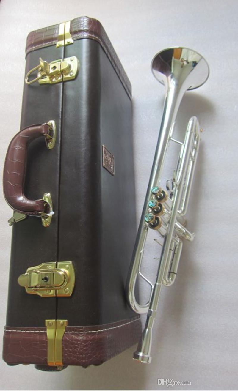 الصورة الحقيقية usa باخ ستراديفاريوس البوق bb LT197S-99 الفضة شقة ب الآلات الموسيقية الموسيقية المهنة القرن trompete