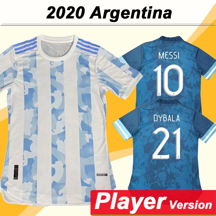 2020 Argentina Nacional Versão Team Player MESSI DI MARIA HIGUAIN Mens Futebol DYBALA Casa Fora camisas de futebol Agüero Fardas