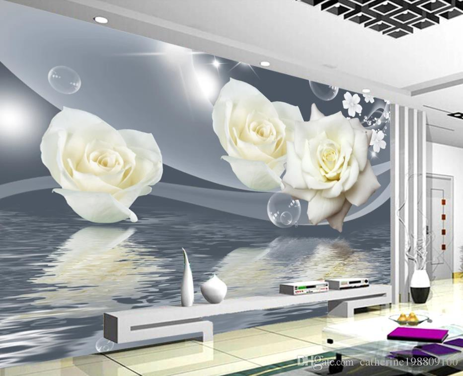 Papel de parede moderno para sala de estar Simples branco rosa água reflexão reflexão sala de estar TV fundo parede