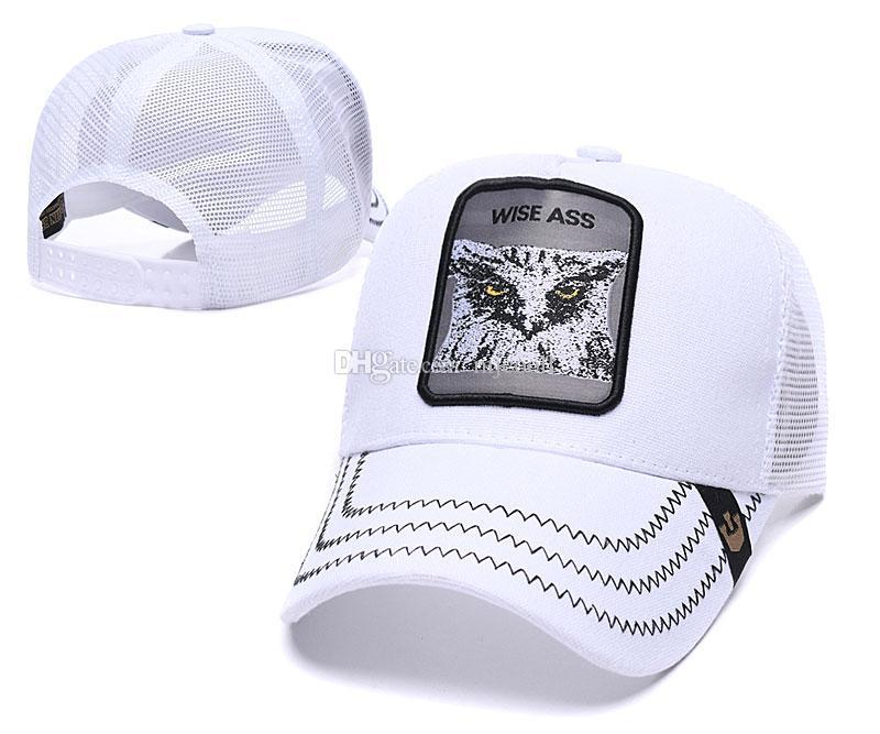 Sommer-Netzkappen Mode Visor Netz Hutfrauen Männer Nachteule Stickerei Snap-Baseballmütze Einstellbare Snapback Tiere Hat Golf-Ball-Kappe