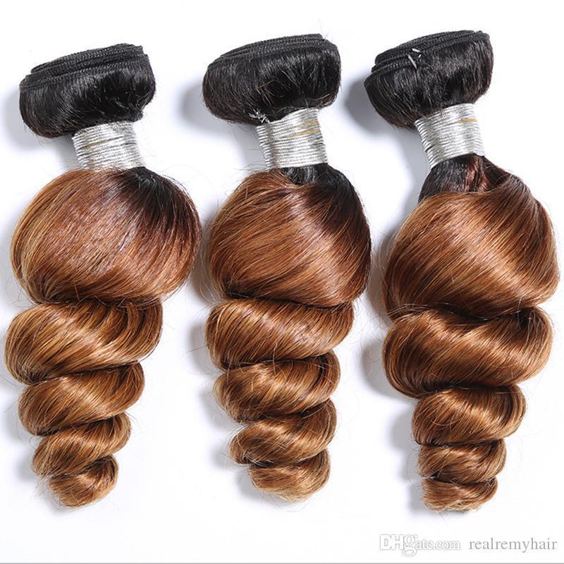 8a Brésilien Ombre Vague Lâche Bouclés Cheveux Bundles 2 Ton 1B 30 Brun Ombre Brésiliens Bouclés Vierge De Cheveux Humains Tisse