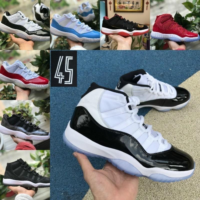 مع صندوق مبيعات 2020 الجديدة كونكورد العليا 45 11 11S XI كرة السلة للرجال أحذية نسائية رخيصة كاب ثوب رياضة الأحمر شيكاغو تينت سبيس جام 23 أحذية