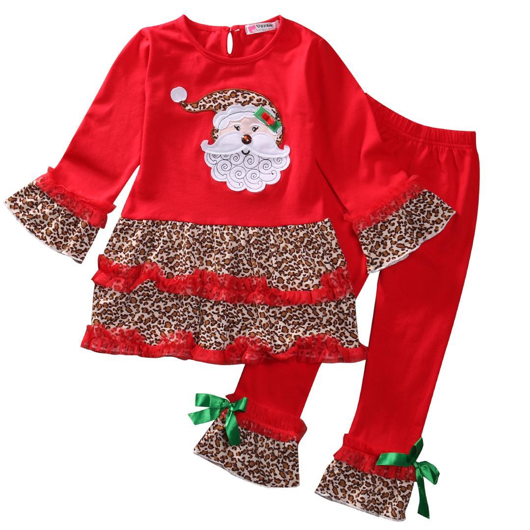 Рождество Baby Girl Leopard цветочные рюшами топы футболки Wid ноги брюки комплект одежды 2-7 Т